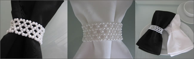 Pearl napkin rings for hire