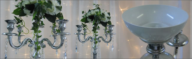 Candelabra hire with florist cup, Auckland