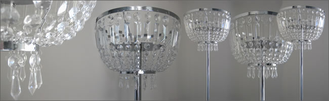 Crystal chandelier centrepiece hire, Centrepieces