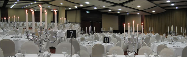 Silver candelabra hire at the Pullman Auckland hotel