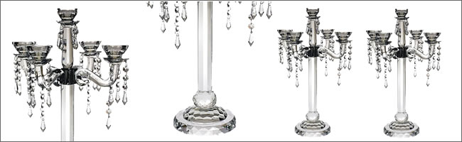 High quality crystal candelabra hire, Centrepieces, Auckland