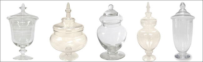Apothecary jars used for candy buffets