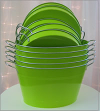 Lime green ice tubs and trays for partyhire in Auckland