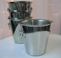 Stainless steel ice buckets for hire for birthdays , weddings and events, Auckland