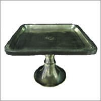 Large matt silver square wedding pedestal cake stand hire, Auckland