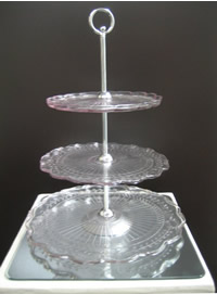 Vintage pink glass 3 tier cupcake stand hire, Auckland Centrepieces