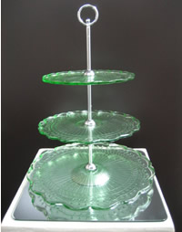 Vintage green cupcake stand hire, Auckland Centrepieces