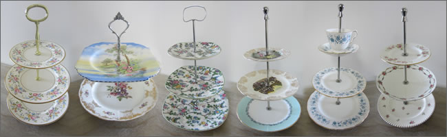 Vintage cupcake stands for high tea parties, Auckland
