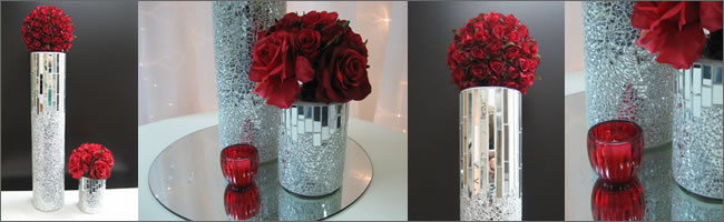 Tall and short mosaic mirror vases for hire