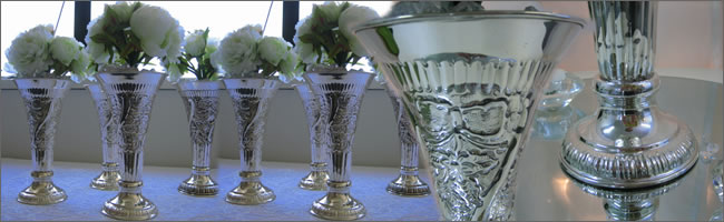 vintage s ilver vases for hire, Auckland