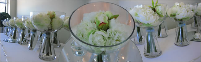 Flare bowl wedding centrepiece for hire, Auckland vase hire