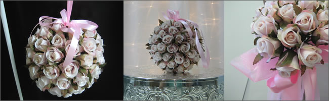 Flower kissing balls, floewr girl topiary balls and pew bow hire,