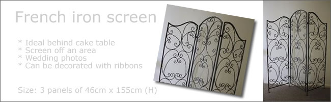 French iron room divider screen hire, Auckland