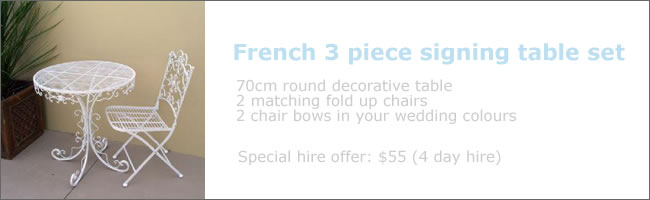 Decorative wedding signing table for hire, Auckland