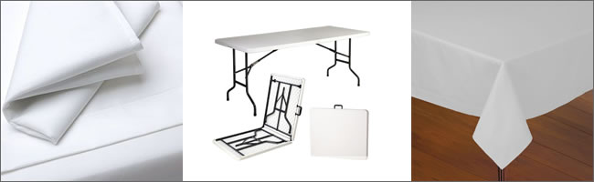 Trestle tables and tablecloth hire, Auckland