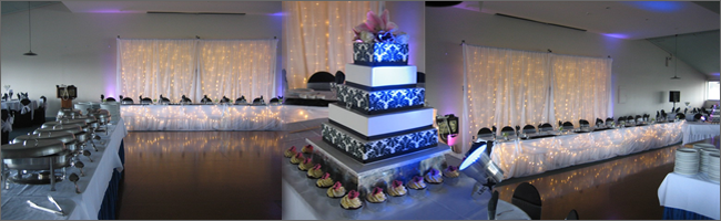 Fairylight backdrop system and uplighting for weddings and events, Auckland