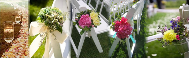 white buckets, bows and floral arrangements for hire