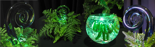 Koru glass centrepiece for New Zealand themed events, Centrepieces, Auckland