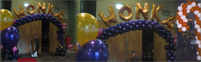 Willie Wonkie themed event decorating, Auckland Centrepieces