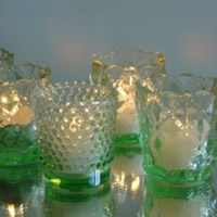 Vintage green  hobnail tealight for hire, Auckland Centrepieces