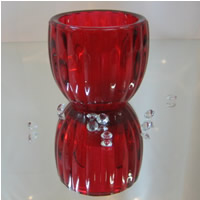 Red ribbed tealights for hire, Auckland Cenetrepiece Hire