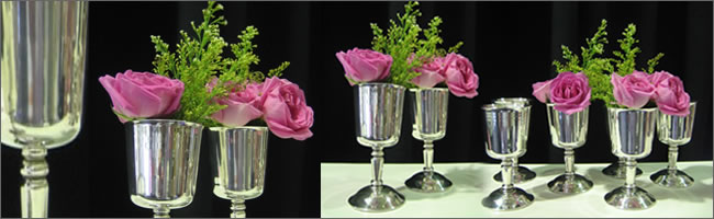 Vintage silver chalices for wedding centrepieces, Auckland