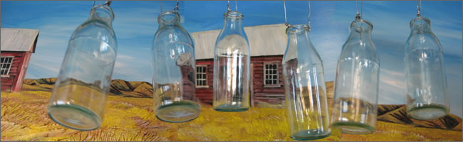 vintage apothecary bottles with wire for hanging from trees, Auckland Hire