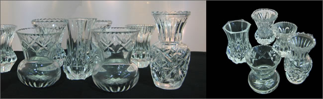Vintage crystal vases for hire, Auckland