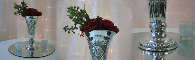 Silver vases for hire - weddings and events, Auckland