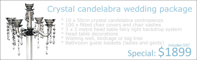 Elite Crystal Weddling Package includes setup and packdown, Auckland Central